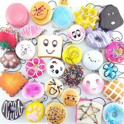 10 PCS Random Kawaii Squishies Bun Toast Donut Bread Charm Cat Squishy Straps