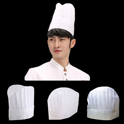 5 PC Kitchen Non-woven Baker Elastic Cap Men Hot New Chef White Catering Hat