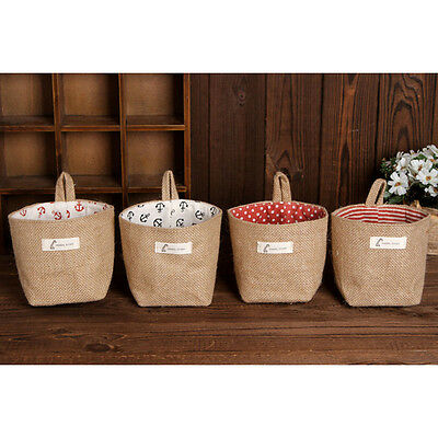 Storage box jute with cotton lining sundries basket storage bag hanging bags