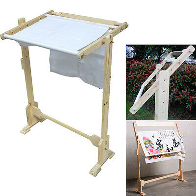 Adjustable Hardwood Lap Stand Scroll Embroidery Frame Cross Stitch Hand Craft