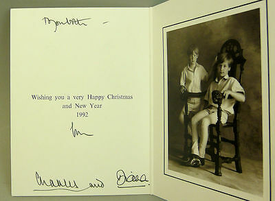 Princess Diana & Prince Charles 1992 Christmas Card Signed By Both