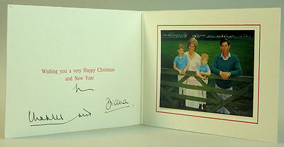 Princess Diana & Prince Charles 1988 Christmas Card Signed By Both