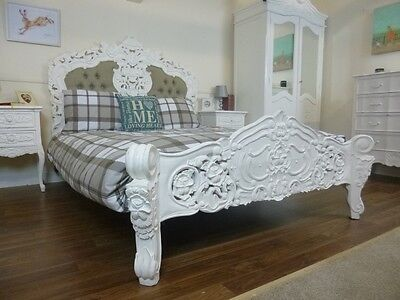 French Rococo Upholstered Double Bed In White - Handmade & Hand Carved