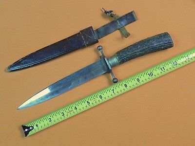 RARE German Germany WWI WW1 Large Stag Handle Fighting Knife w/ Scabbard