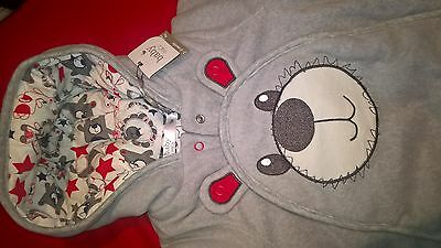 BNWT UNISEX Boys or Girls Grey BEAR WINTER SNOWSUIT ALL IN ONE baby 3-6 months