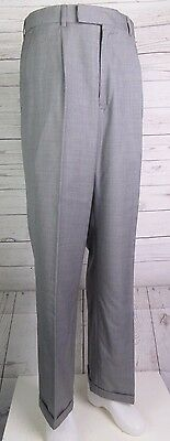 Vtg Grey Pleated Tapered Wool Turn Up Trousers 90s does 40s / 50s  W32 L31 DM09