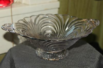 """Vintage Cut Glass? Oval Bowl 9"""" Oval Candy/ Nut Scalloped Edge  Handles"""