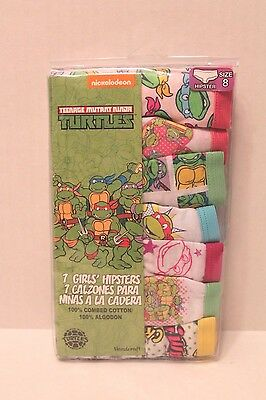 Teenage Mutant Ninja Turtles 7 Pair Girls Hipster Panties Underwear Girl Size 8