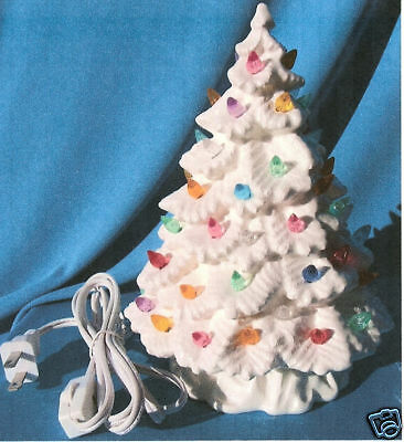 "11 1/4"" White Spruce Christmas Tree Ceramic"