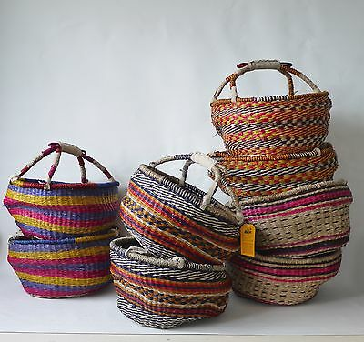 Colourful African handwoven medium round shopping basket | Fairtrade Hamper