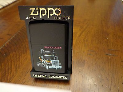 Black Classic Semi Trucker  Zippo Lighter Mint In Box 1993