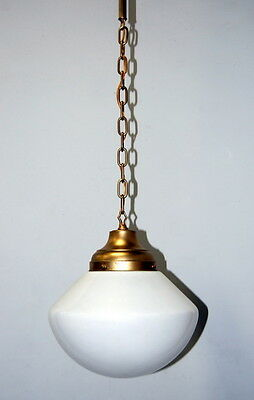 Antique Art Deco Milk Glass or Schoolhouse Globe Pendant Light Fixture