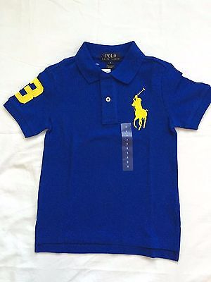 NWT Polo RALPH Laur Boy's Polo Ralph Lauren SS Big Pony Polo Shirt Blue -Size 2T