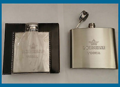 NEW It's EMPTY Sobieski 5 Oz. Stainless Steel Flask with Hinged Threaded Cap