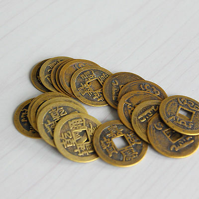 "10pcs Feng Shui Coins 1.00"" 2.3cm Lucky Chinese Fortune Coin I Ching Set MV"
