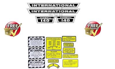 Ih International Harvester Farmall 140 Complete Decal Set Hood Decal & Caution