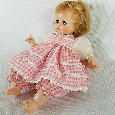 1965 Madame Alexander Pussy Cat Doll With Crier Pink Gingham Check Dress