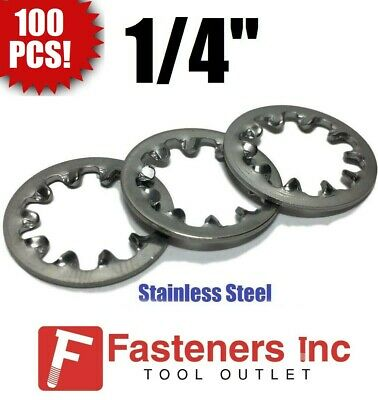 """(Qty 100) 1/4"""" Lock Washer Internal Tooth 410 Stainless Steel"""