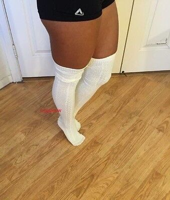 7a63fb6771d Womens Soft Cable Knit Over The Knee Thigh High Socks OTK Long Boot School  White