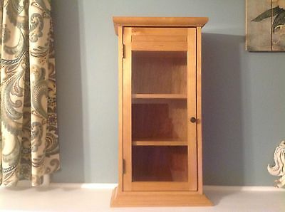 """American Girl Size Wood Curio Cabinet With Glass Door & Shelves 21"""" Tall"""