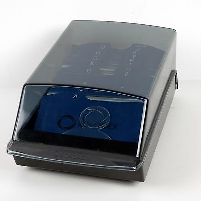 Rolodex Business Card File Holder Letter Dividers Rubbermaid Black Smoked Top