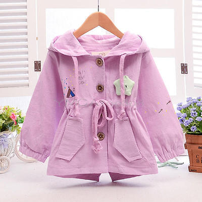 Baby Toddler Girls Autumn Pink Coat Kids  Jacket Hooded Outwear Clothes