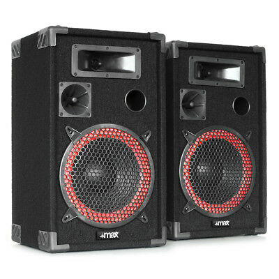 """Pair Skytec 12"""" Passive Speakers Bedroom DJ Disco House Party RED CONE 500W RMS"""