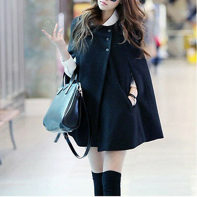 Women Loose Batwing Wool Poncho Winter Warm Coat Jacket Cloak Cape Parka Outwear
