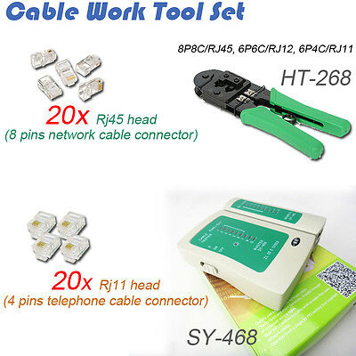 Rj45 8 Pin Network & Rj11 4 Pin Telephone Cable Plugs Crimping Tester Tool Kit
