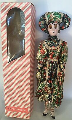 """PORCELAIN CLOWN DOLL CONTEMPORARY Harlequin Jester Blue & Red Floral Outfit 17"""""""