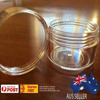 20X 15g Clear Lip Balm Small Screw Top Sample Cosmetic Jars Container OZ Seller