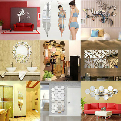 New Removable Home 3D Mirror Acrylic Wall Sticker Decal Art Vinyl Room Decor DIY