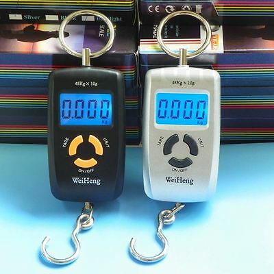 Portable 45Kg/5g Digital Backlight Fishing Luggage Hanging Hook Scale
