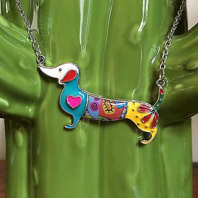Slightly Unusual Necklace Dachshund Doxie Sausage Dog Hearts Multicolour Green