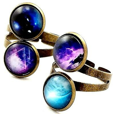 Antique Bronze Ring with 12mm Domed Cabochons Scenes of Deep Space Blue & Purple