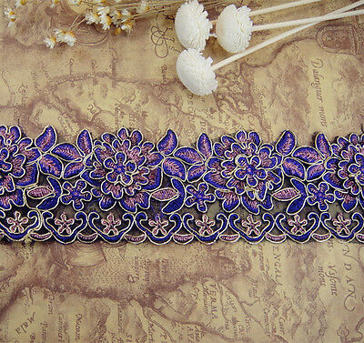 Purple Bridal Lace Trimming Embroidered Trim Ribbon Wedding Floral Sewing Edging