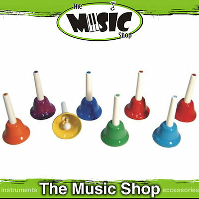 8 Note Tuned Bell Set - Coloured Metal Hand Bells - New