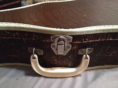 Vintage Baritone Ukulele Case. Brown Alligator Exterior W/White Trim.