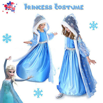 For Frozen Elsa Girls Fancy Dress Up Costume Outfit + Hooded Cape & Oversleeves