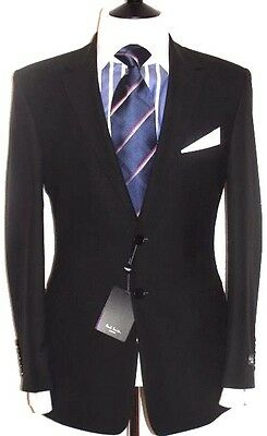 Bnwt Mens Exclusive Paul Smith London The Willaugbby Plain Black Suit 40R W34