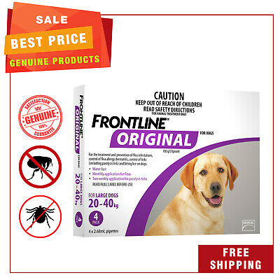 FRONTLINE ORIGINAL For Dogs 4 Pipettes 20 to 40 Kg Purple Pack Flea Tick Control