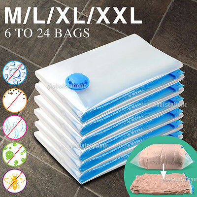 6 to 24 Vacuum Storage Bags Saver Seal Compressing Space Saving Experts 4 Size