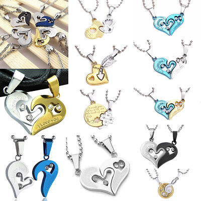 Men Women Stainless Steel Lover Couple Pendant I Love You Heart Chain Necklace