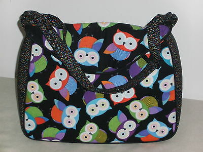 BNWT-Colourful Owls Design on Black Satchel Style-Knittiing/Project/Craft Bag
