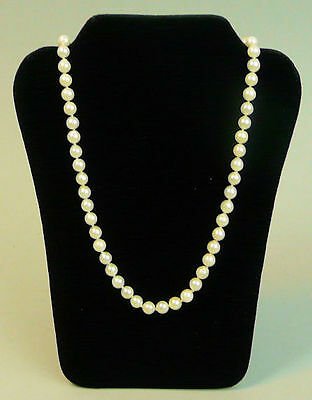 Vintage 18 Inch Cultured Pearl Necklace 9K Gold Clasp - 19 Grams