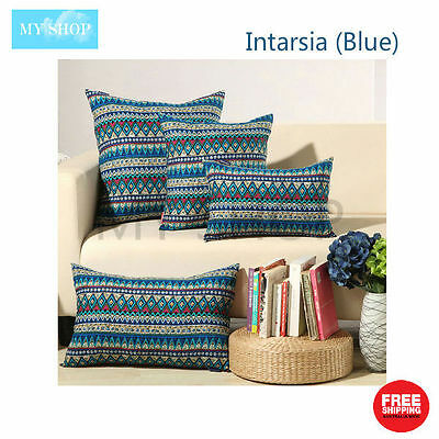 Geometric Natural Linen Cotton Cushion Cover Home Decor Pillow Case --Blue