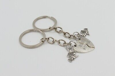 BEST WITCHES WITCH SET Silver Metal Charm Keychain Key Ring Unique Gift