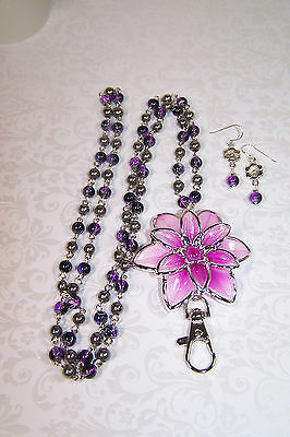 Hot Pink Flower with Pink and Black Drawbench Beaded Lanyard Necklace & Earrings