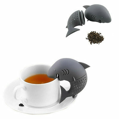 Cute Silicone Shark Infuser Tea Leaf Strainer Herbal Spice Filter Diffuser FG
