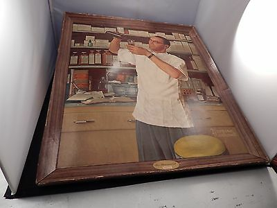 1955 UpJohn NORMAN ROCKWELL The Pharmacist SELF-FRAMED ADVERTISEMENT Lithograph